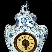 "Antique French Rococo  Porcelain Mantle Clock   16"""