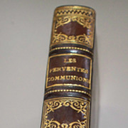 "Antique French Book ""Les Ferventes Communions""  1897  Leather Bound/Gold"