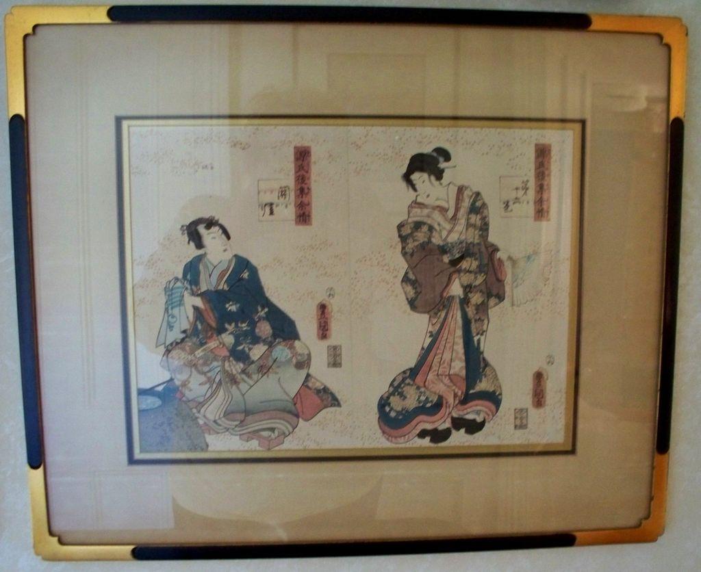 Pair Of Antique Japanese Wood Block Prints Utagawa