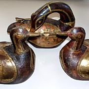 Vintage 2 Ducks & a Swan one is a Box. Brass & Copper & Wood