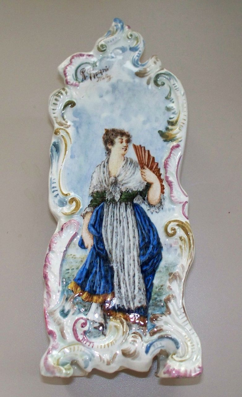 Antique Italian Faience Capodimonte Nove Bassano Tin Glazed Vase.. signed R. Passarin