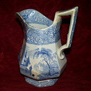"Antique Staffordshire Octagon Small Pitcher ""Friburg"" by Davenport"