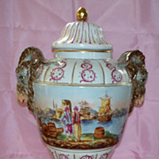 Antique Large KPM  Porcelain Vase or Urn  Ram's Head Handles