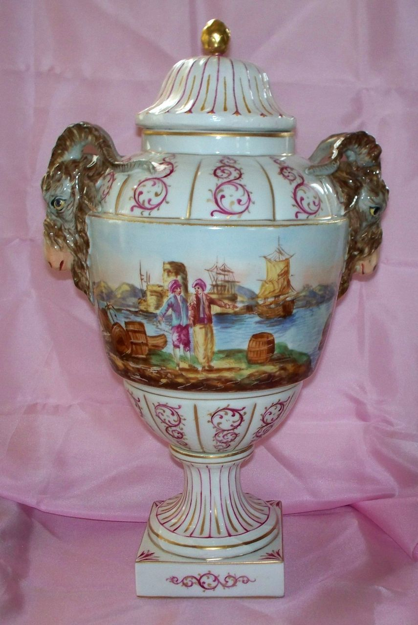 Antique Large Kpm Porcelain Vase Or Urn Ram S Head Handles