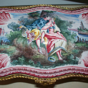 """Antique French Faience Rococo """"Romantic"""" Dresser Box with Gilt- Bronze Mounts  ca. 18th century"""