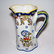 "Antique French Faience   ""Dinan""   Fluted Pitcher"