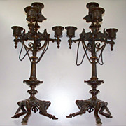 Antique Pair French Bronze Candelabra  Pompeii Designs 19th Century
