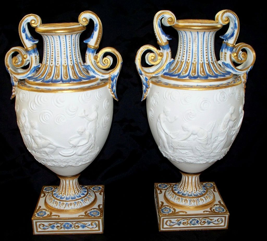 Pair french sevres bisque urns vases 19th century sold ruby lane reviewsmspy