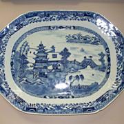 Antique Chinese Export Nanking Large Platter Orange Peel Surface 18th century