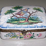 Antique Large French Faience  by Aprey  Exotic Bird on Tree 18th century