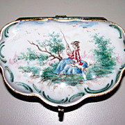 "Antique French Faience Rococo Veuve Perrin ""Girl Fishing w Dog"" Box  18th century"