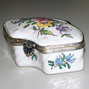 Antique French Faience Veuve Perrin Rococo Box  Exotic Bird  ca. 1770