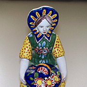 Antique French Faience Girl with Mustard Jar