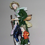 "Antique Capodimonte Man &  Child   with Violin 19th century  7.6"" High"