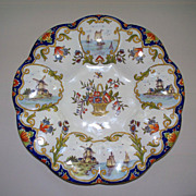 Antique French Faience Desvres Fourmaintraux Freres  Sailboats & Windmills ca 1880