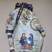 Antique French Faience Desvres Fourmaintraux Freres Large Wall Pocket Bouquetiere Vase  ca.1890  Perfect