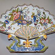 Antique French Faience Desvres Fourmaintraux Freres Fan Shaped Vase with Dolphins & Fleur de Lis