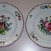 Pair Antique French Faience  Raised Enamels Decor Plates