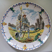 "Antique French Faience ""Knight in Shining Armor"" Charger Alcide Chaumeil  ca 1885"