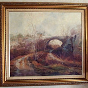 "Original ""The Bridge"" Oil Painting by John Caggiano of Rockport, Ma. dated 1983"