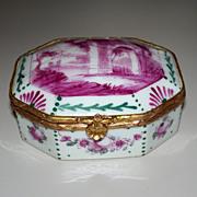 Antique French Sceaux Porcelain Octagon Box  roses!