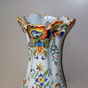 Antique French Faience Desvres Fourmaintraux Tin-Glaze Rococo Vase