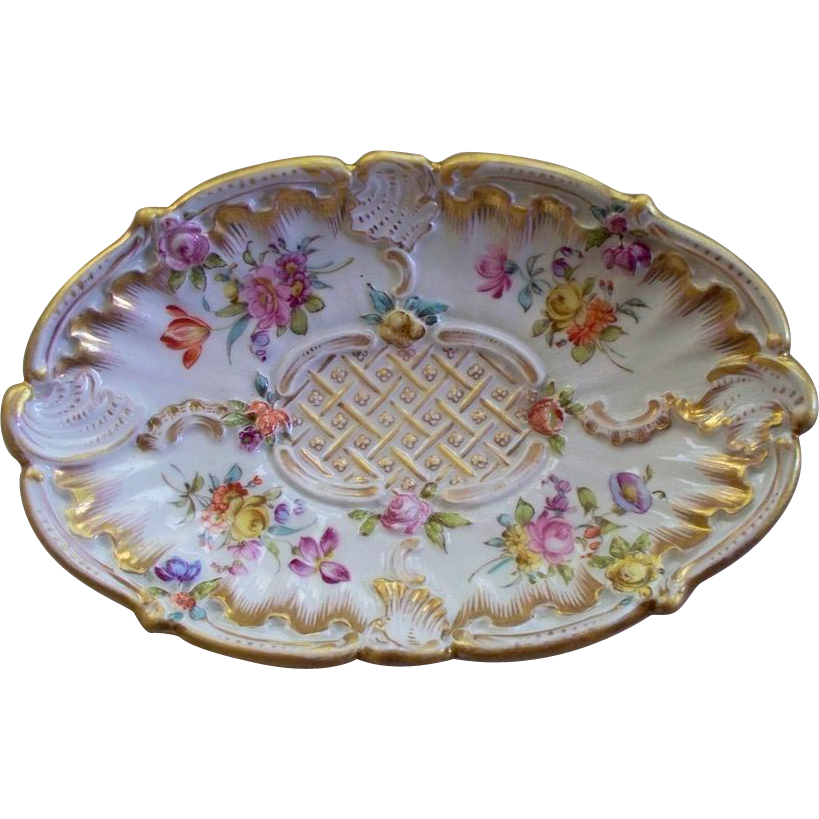 Antique Meissen Rococo Tray Plate Ca 1890 Antique