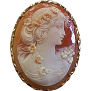 Italian Large Shell Cameo 14 K. Gold by A. Scala Master Artisan 1985