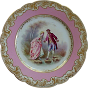 "Antique Sevres Chateau Des Tuileries Plate ""Lovers"" signed"