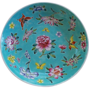 Antique Chinese Bowl/ Dish Overlay Enamels Peonies & Butterflies Guangxu marked Perfect