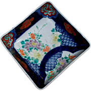 Antique Japanese Imari Footed Square Bowl Edo/Meiji Period Marked