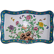 Antique Large Chinese Enamelled Peonies & 8 Butterflies Tray.  Perfect. ca. 1900
