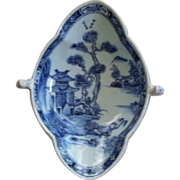 Antique Chinese Canton Export Blue & White Sauceboat with handles late 18th century/ early 19th century