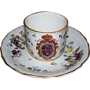 Antique French Armorial Paul Hannong Strasbourg Cup & Saucer