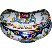 """Antique French Faience Desvres """"Rouen"""" Armorial Box signed"""