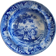 "Antique Staffordshire Pearlware Blue n White ""Wheat Gatherers"" & Dog Plate/Bowl ca. 1820"