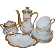 Antique Limoges 24 K. Gold Haviland & Coronet Partial Tea Set  with Eagle motifs