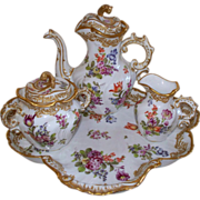 Antique 'Bourdois & Bloch' Paris de Porcelaine Rococo Tea Set.. ca. 1880