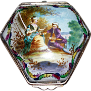 """Antique French Faience 'Lille' """"Lovers"""" Box   Late 18th Century Perfect"""