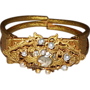 "Miriam Haskel Cuff Bracelet with  ""Baroque Pearl"""