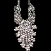 Vintage Faux Diamonds Rhinestones Necklace 1940's