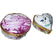Two French Porcelain Boxes: one #1- Porcelain de Paris; one #2-Chantilly ,France