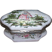 "Antique French Faience ""Moustiers"" Casket-Shaped Large Box of Lovers w/ Butterflies    circa 1780"
