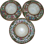 Three # sets of Antique Chinese Famille Rose Cups & Saucers Late 18th century-early 19th century