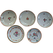5 Antique Chinese  'Qianlong'  Famille Rose  Bowls 18th century
