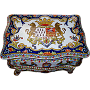 Huge Antique French Faience 'Armorial' Desvres Fourmaintraux Freres Jewelry Commode/Casket Box 'Rococo -Style' circa 1880