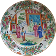 "Spectacular Chinese Famille Rose ""Mandarin"" Large Plate with Butterflies, Insects, Berries, Corn and The Mandarin.. circa 1820's"