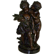 "Auguste Moreau "" The Secret "" Bronze Sculpture    produced..1970's"