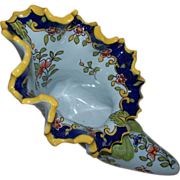 Antique French Faience Shoe Vase  Butterflies.. Signed circa 1890s