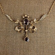 Beautiful Seed Pearl and Amethyst Pendent Necklace